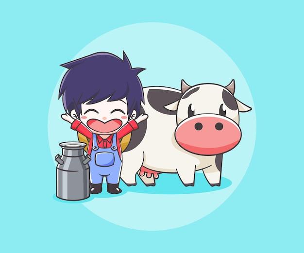 Simpatico contadino con una mucca e una lattina di latte fumetto illustrazione