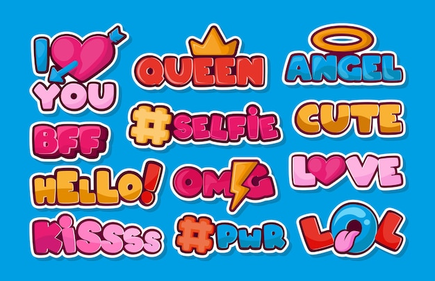 Set di patch di moda carino. adesivi di social network