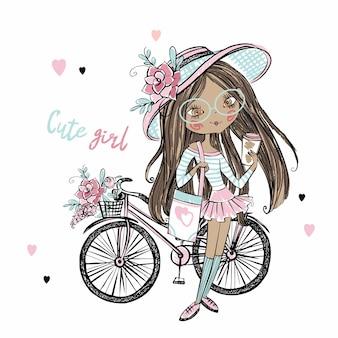 Ragazza teenager dalla pelle scura alla moda carina in un cappello con una bicicletta. la mia vita..