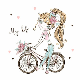 Una ragazza adolescente alla moda carina con una bicicletta. la mia vita. vettore.