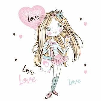 Ragazza teenager carina fashionista con una tazza di caffè e un palloncino a forma di cuore. san valentino