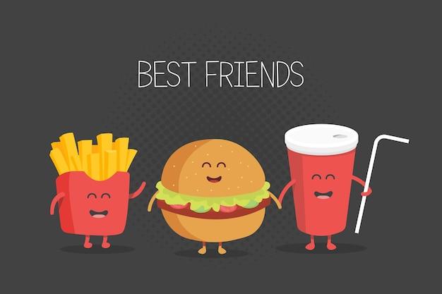 Hamburger di fast food carino, soda, patatine fritte. fumetto di vettore. amici per sempre