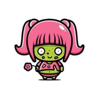 Disegno vettoriale carino ragazza grassa zombie
