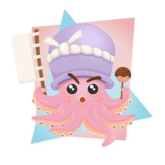 Simpatico personaggio mascotte takoyaki di polpo grasso