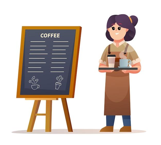 Simpatico barista femminile in piedi vicino alla scheda del menu mentre trasporta l'illustrazione del caffè