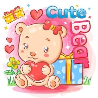 Orso femminile sveglio che si sente innamorato dell'illustrazione del regalo di san valentino