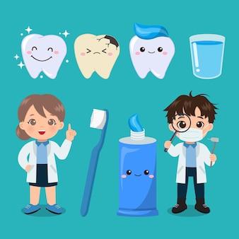 Simpatico dentista maschio e femmina clipart di igiene orale design piatto vettoriale dei cartoni animati