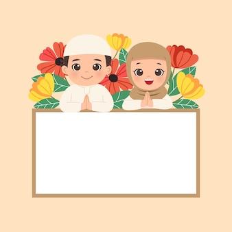 Carino femmina e maschio in posa di saluto con modello di bandiera in bianco