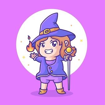 Carino mago femmina che tiene la bacchetta magica e il fuoco logo halloween icona vettore illustrazione in stile piatto
