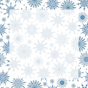 Simpatico modello di sfondo per la stagione invernale festiva con fiocchi di neve e spazio di copia