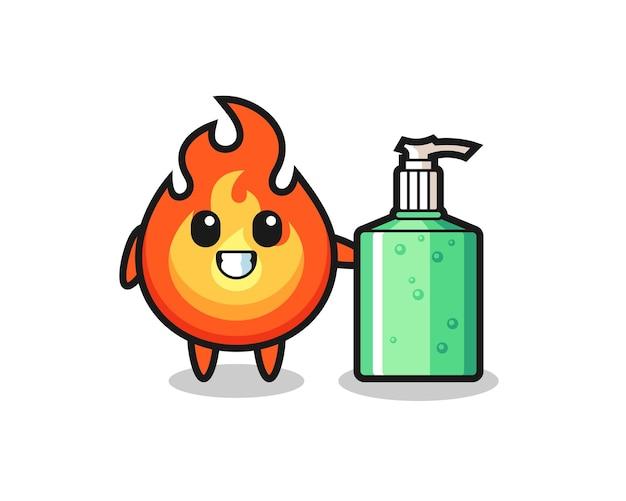 Simpatico cartone animato di fuoco con disinfettante per le mani, design in stile carino per maglietta, adesivo, elemento logo