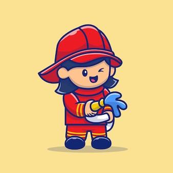 Illustrazione sveglia dell'icona di vettore del fumetto del vigile del fuoco. persone professione icona concetto isolato vettore premium. stile cartone animato piatto