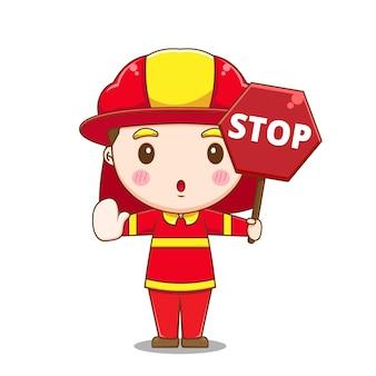 Carattere sveglio del pompiere che tiene il segnale di stop