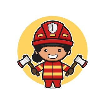 Pompiere sveglio che tiene due assi icona del fumetto illustrazione. design piatto isolato in stile cartone animato
