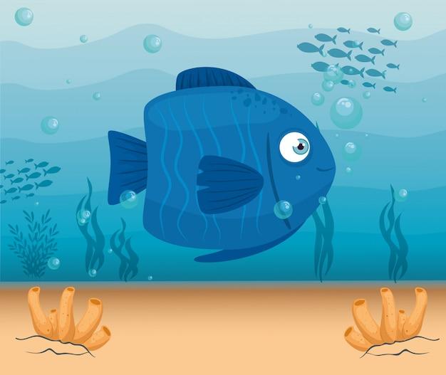 Marina blu di colore animale del pesce sveglio in oceano, abitante del mondo del mare, creatura subacquea, concetto del marinaio dell'habitat