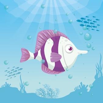 Animale marino sveglio del pesce in oceano, abitante del seaworld, creatura subacquea, concetto del marinaio dell'habitat