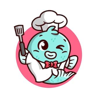Sveglio pesce chef porta una mascotte del fumetto di alta qualità della spatola