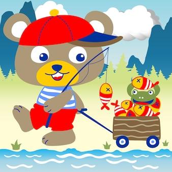Cartone animato carino pescatore