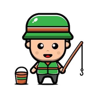 Simpatico personaggio pescatore