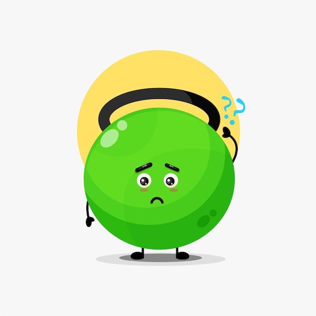 Simpatico personaggio di kettlebell fitness confuso