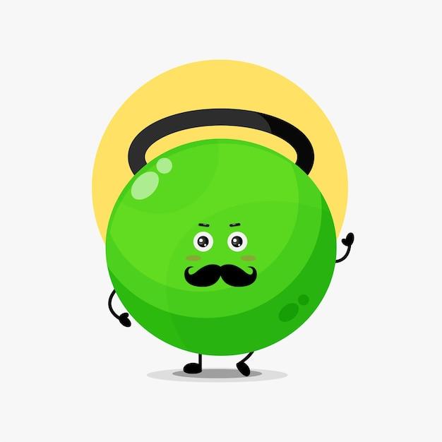 Simpatico personaggio con kettlebell fitness con baffi