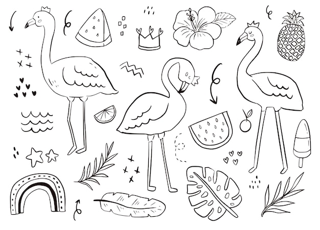 Contorno adesivo doodle carino fenicottero. uccello estivo, anguria, disegno tropicale sfondo bianco illustrazione