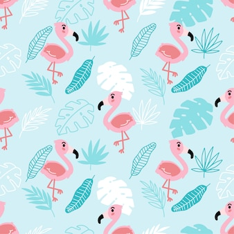 Disegno senza giunte estivo tropicale di flamingo sveglio