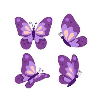 Collezione di farfalle viola piatte carino