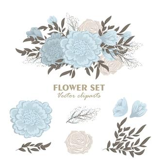 Mazzi di fiori floreali carino, set di fiori clipart