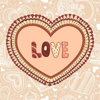 Simpatico cuore floreale con testo d'amore
