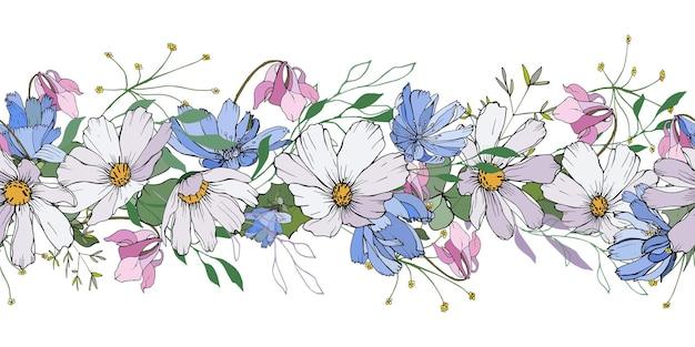 Simpatico bordo orizzontale floreale con fiori di campo.