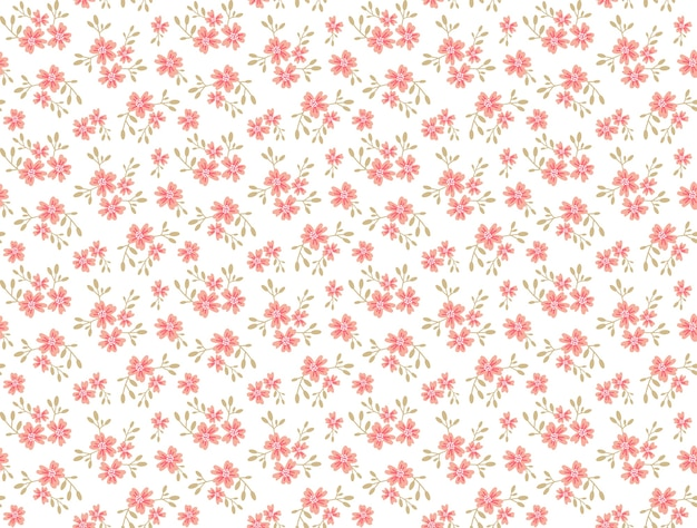 Simpatico motivo floreale nel piccolo fiore. stampa ditsy. trama senza soluzione di continuità. modello elegante per stampe di moda. stampa con piccoli fiori color rosa. sfondo bianco.