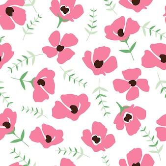 Simpatico motivo floreale nel piccolo fiore. trama vettoriale senza soluzione di continuità. modello elegante per stampe di moda. stampa con fiori rosa molto piccoli. sfondo bianco.