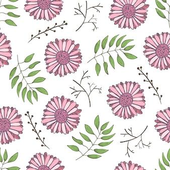 Simpatico motivo floreale con teneri fiori rosa