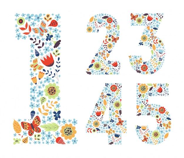 Set di numeri vintage floreali carino