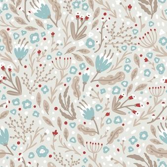 Simpatico motivo floreale fatto di piccoli fiori invernali in un semplice stile scandinavo. seamless pattern