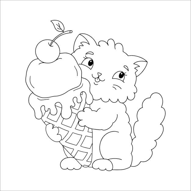 Un simpatico gatto soffice tiene un delizioso gelato appetitoso nelle sue zampe pagina del libro da colorare per bambini