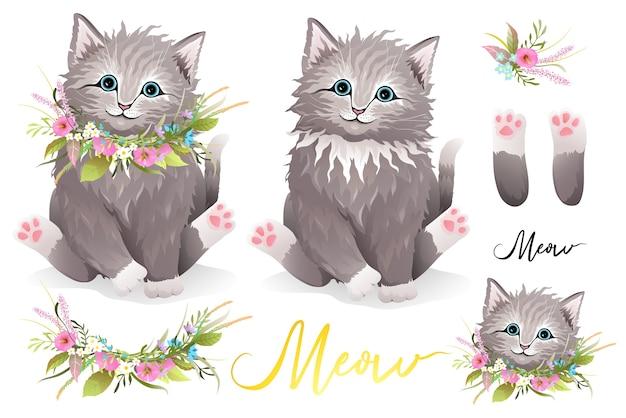 Simpatico gattino peloso soffice con ghirlanda di fiori intorno al collo, zampe di gatto, composizioni floreali e ritratto di testa separatamente. raccolta di clipart del gattino del progettista, vettore disegnato a mano realistico nello stile dell'acquerello