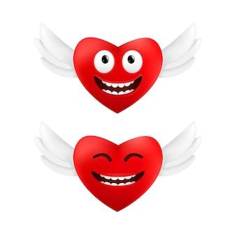 Cuori volanti svegli con divertenti emozioni facciali per san valentino set di due cuori rossi con ali d'angelo isolato su sfondo bianco