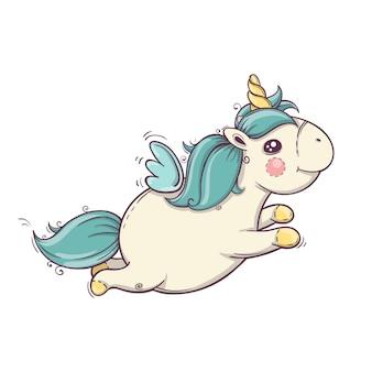 Simpatico unicorno volante. icona di vettore isolato unicorno. adesivo cavallo fantasia, badge patch. illustrazione del fumetto disegnato a mano. eps10