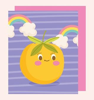 Carino cibo nutrizione personaggio dei fumetti frutta arancia e arcobaleni illustrazione vettoriale
