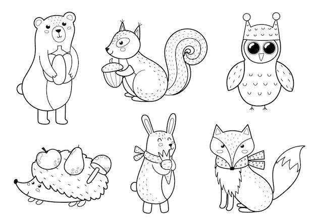 Collezione di simpatici animali della foresta personaggi dei boschi autunnali in bianco e nero per bambini design orso volpe