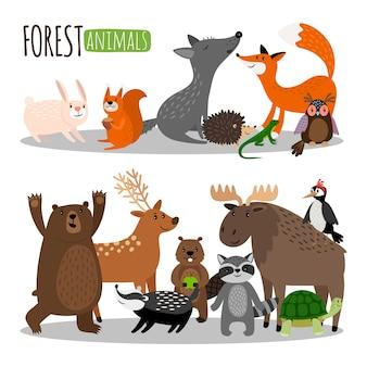 Collezione di simpatici animali della foresta