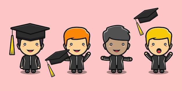 Quattro ragazzi carini festeggiano il cartone animato di laurea