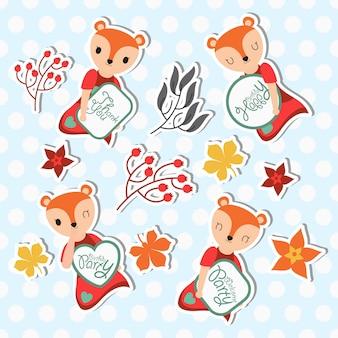 Set di adesivi carino fox e autunno elemento