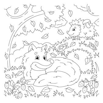 Volpe carina nella foresta autunnale pagina del libro da colorare per bambini tema autunnale