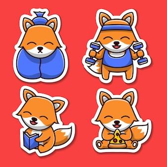 Insieme dell'autoadesivo dell'illustrazione del personaggio dei cartoni animati della volpe sveglia