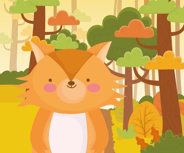 Illustrazione sveglia di vettore del fogliame della foresta della natura del fumetto della volpe