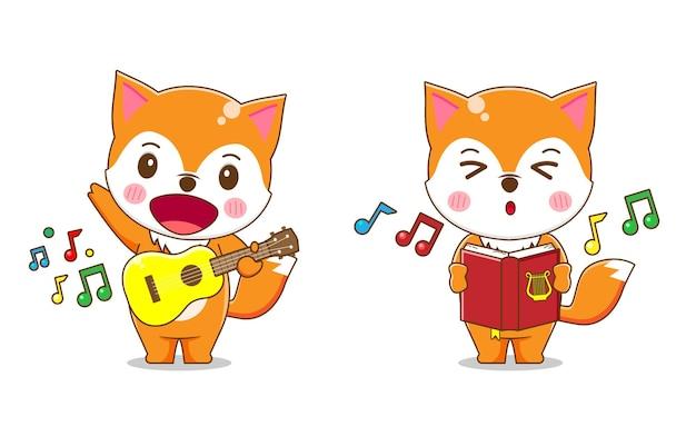 Simpatico personaggio di volpe che suona musica e canta isolato.