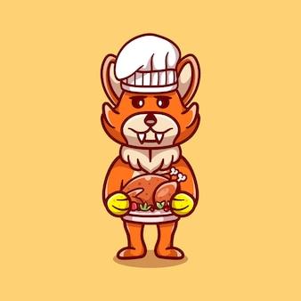 Simpatico chef volpe che celebra il ringraziamento